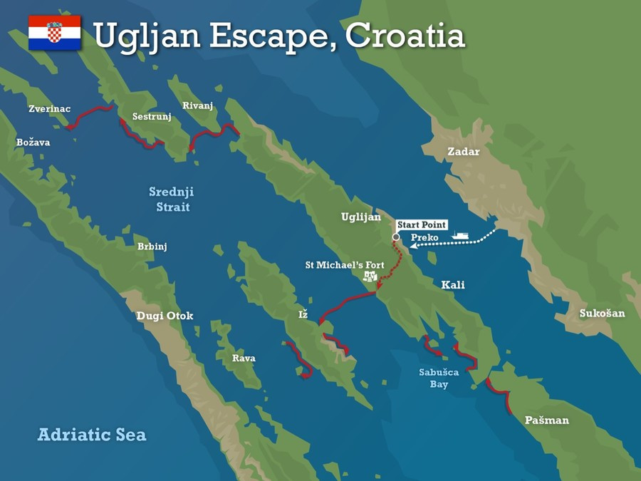 Ugljan escap map