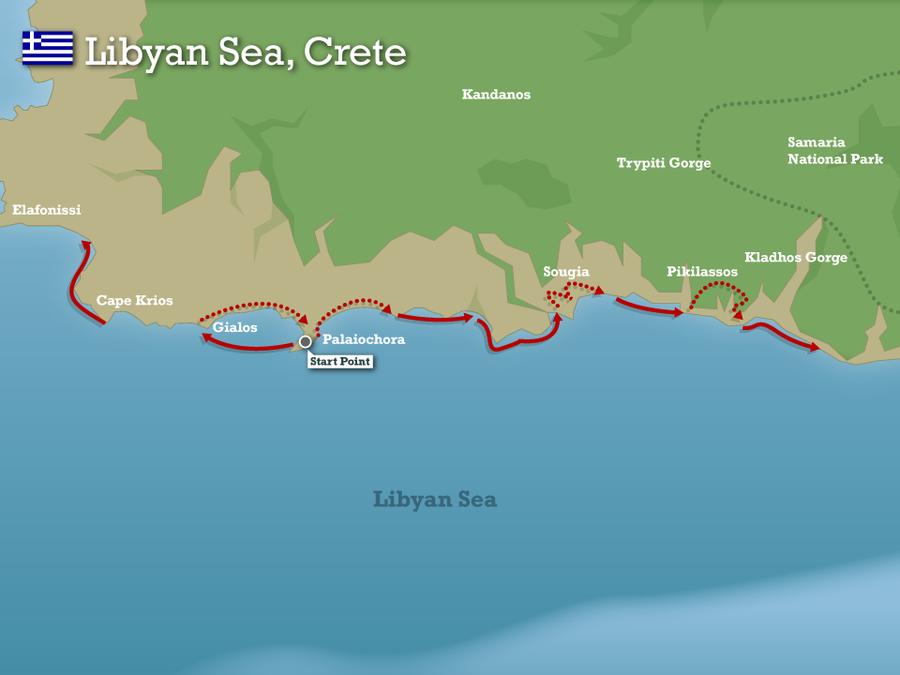 Map Crete escape Swimming Holidays Crete Crete