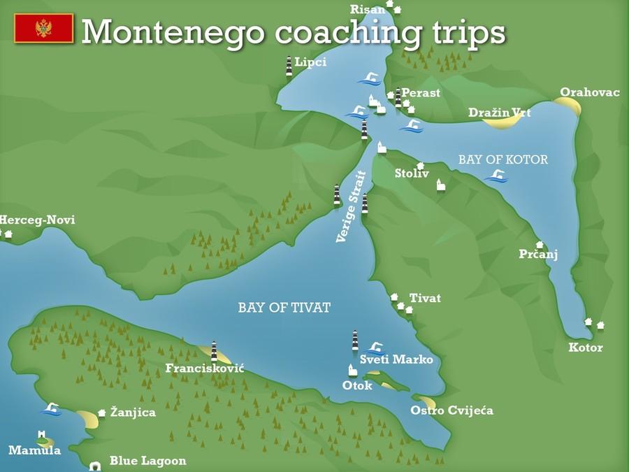 Montenegro coaching trips map