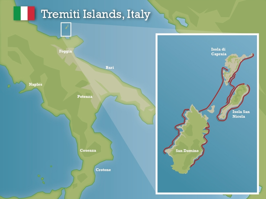 Islands Of Italy Map.Swimming Holidays Tremiti Islands Italy Swimtrek