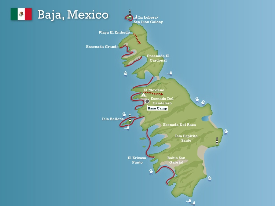 Baja Peninsula Island Map