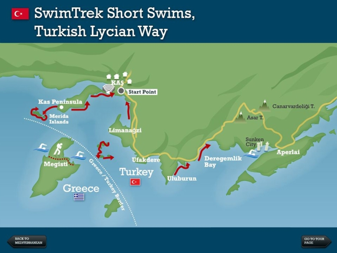 Lycian way short swims turkey