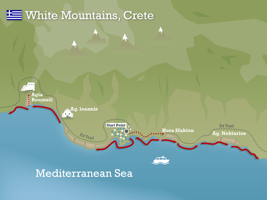 Map White mountains crete Swimming Holidays Crete